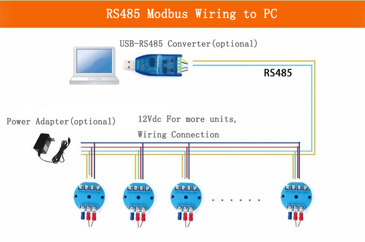 rs485 modbus temperature sensor transmitter head mounted rh abestmeter com Modbus Connector modbus rtu rs485 pinout